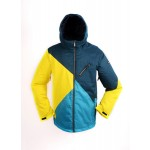 New RIDE Mens Snowboard Ski Snow Jacket - Blue Yellow Patterns