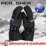 PERYSHER Unisex Waterproof Snowboard Ski Gloves for Men & Women - Size XL | Black