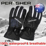 PERYSHER Unisex Waterproof Snowboard Ski Gloves for Men & Women - Size M | White & Black