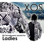 New XOS Womens Ski Snowboard Jacket [ Black & White + Half Plain Black Design ]